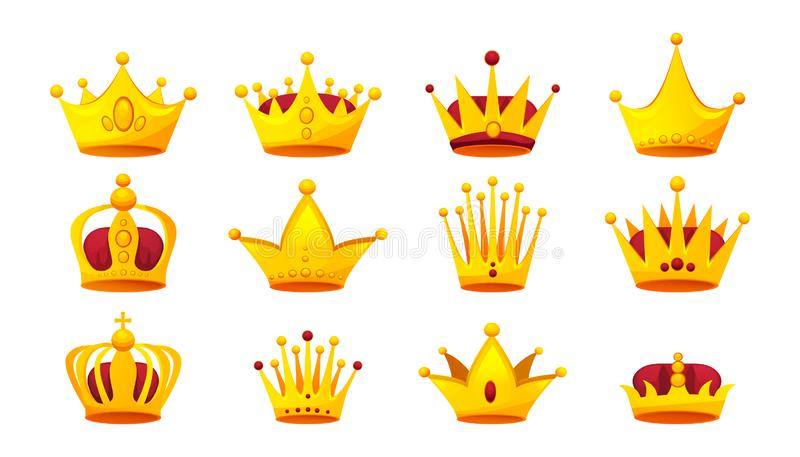 Set of gold crowns. Gold heraldry and coronation, award. stock illustration