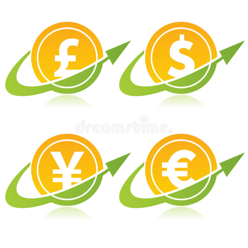 Download Currency Coins with Arrows stock vector. Image of wealth - 30218620