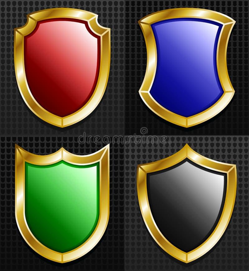 Download Set Of 4 Gold Framed Shields Stock Vector - Image: 30609524
