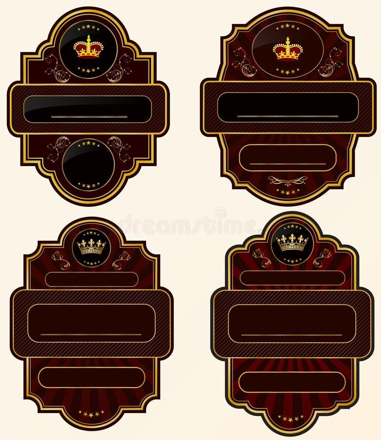 Set Gold-gestaltete Kennsätze lizenzfreie abbildung