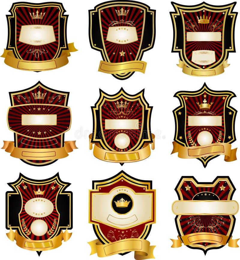 Set Gold-gestaltete Kennsätze stock abbildung
