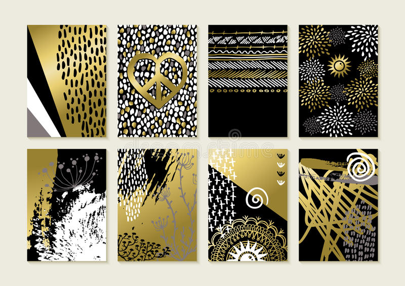 Set of gold hand drawn abstract art card designs royalty free illustration