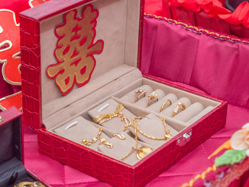 A Set of Gold Jewelry with Xuangxi Chinese Character.  stock image