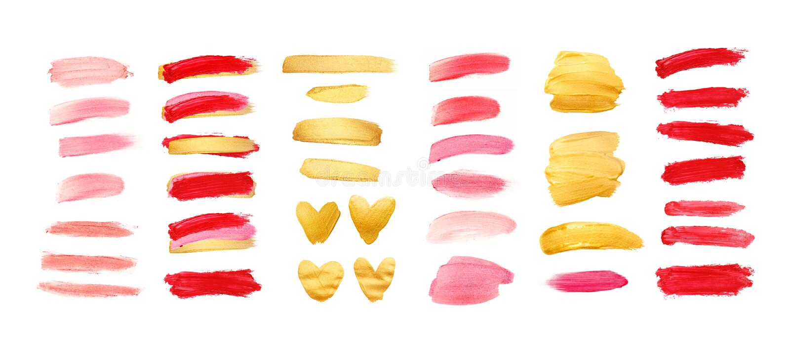 Set of gold, living coral and red strokes isolated on white background. Lipstick bullet smudged. Beautiful textured stock photography