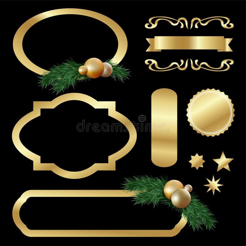 Set of gold luxury labels, frames, stars, balls, fir tree twigs royalty free illustration