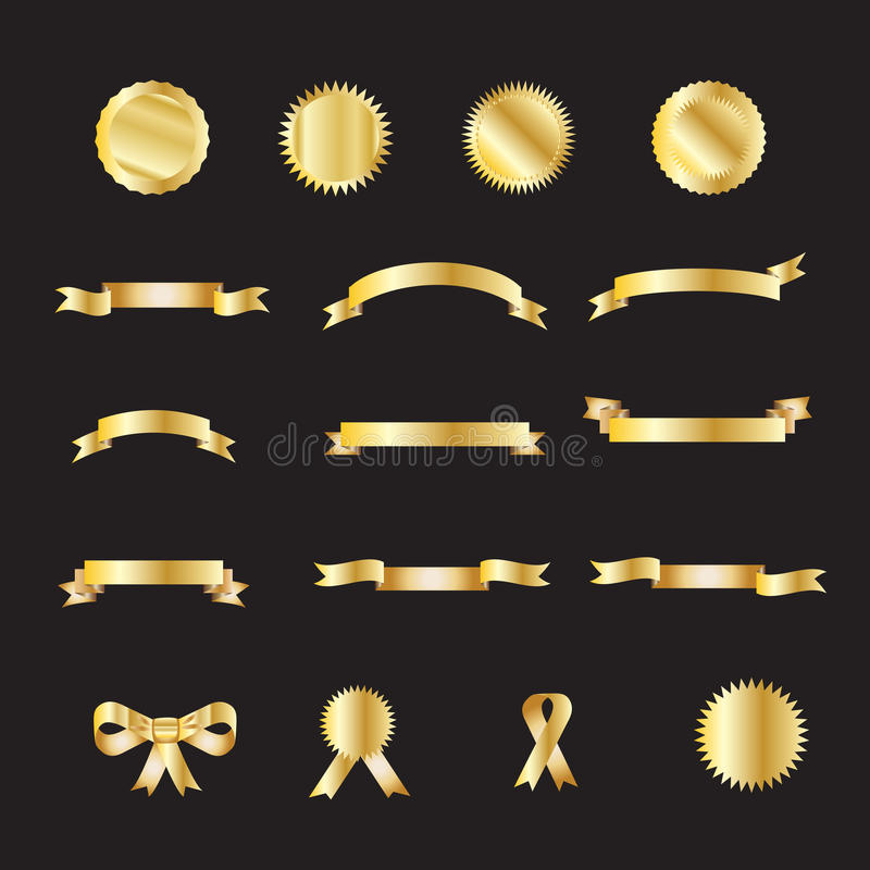 Download Set of gold luxury ribbons stock vector. Image of decoration - 73474703