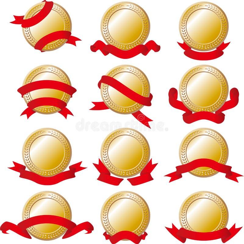 Set of gold medal stock illustration