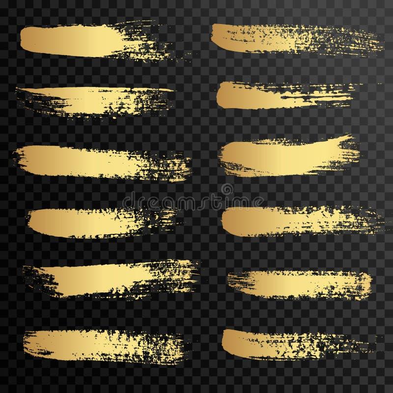 Set of gold paint, ink brush strokes, brushes, lines. stock illustration