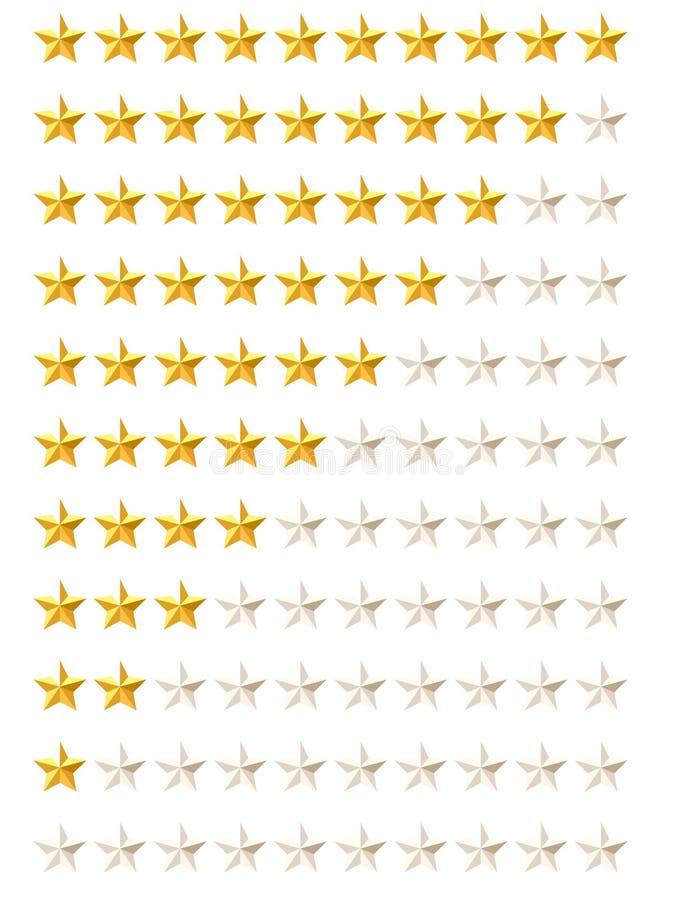 Rating stars. Set of gold rating stars stock illustration