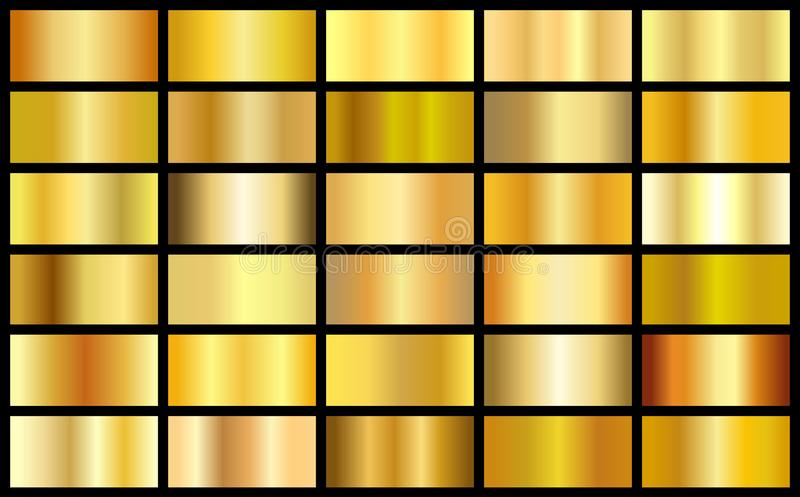 Set of gold realistic metal texture seamless gradient square vector backgrounds. Yellow bright light frame, ribbon, label patterns. Shiny sunny bright vector illustration
