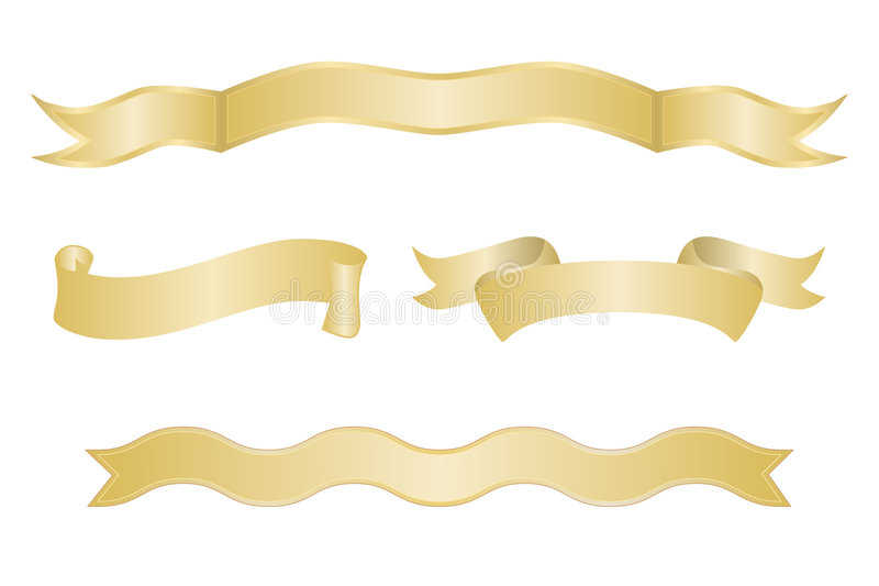 Set Of Gold Ribbon Banners Royalty Free Stock Image
