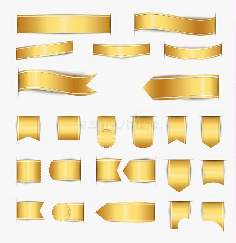 Set of gold ribbons vector illustration