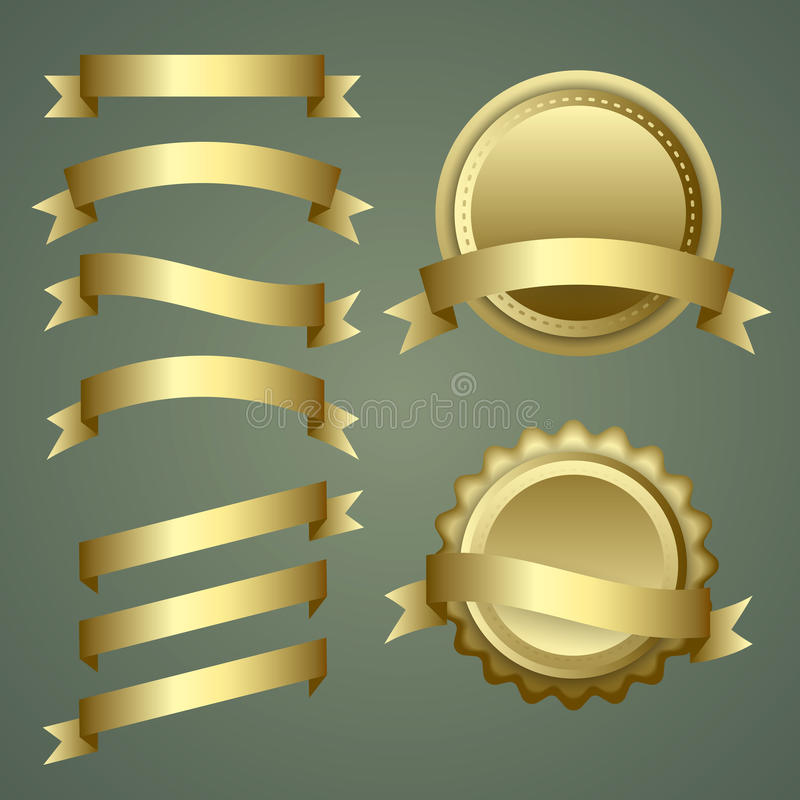 Set of gold ribbons, labels and badges. Vector Set of gold ribbons, labels and badges royalty free illustration