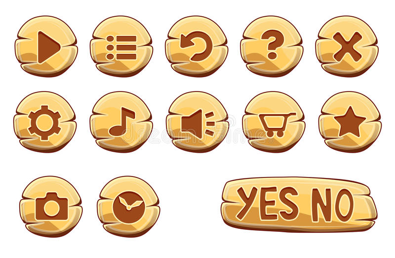Set of gold round buttons. Vector game icons stock illustration