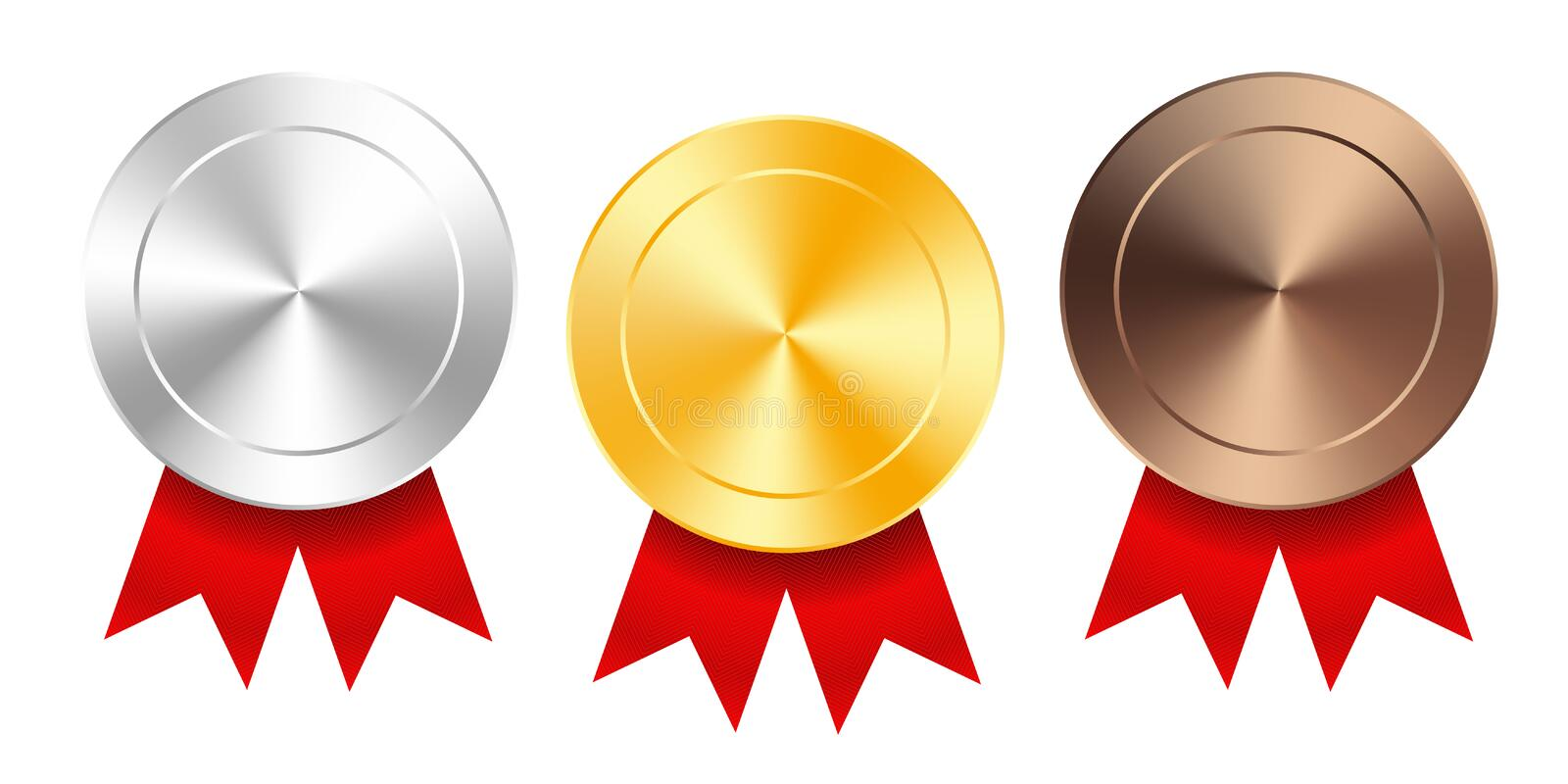 Set of gold, silver and bronze award medals with red ribbons. Medal round empty polished vector collection isolated on white stock illustration