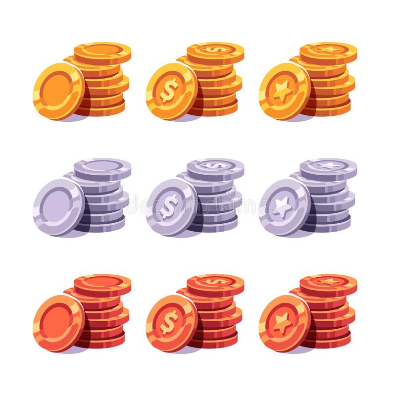 Set of gold, silver and bronze coin stacks vector illustration