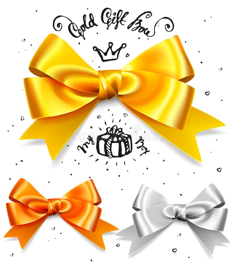 Set of gold, silver and bronze gift bows, satin isolated red glamour bow for birthday and christmas giftbox. Present vector illustration