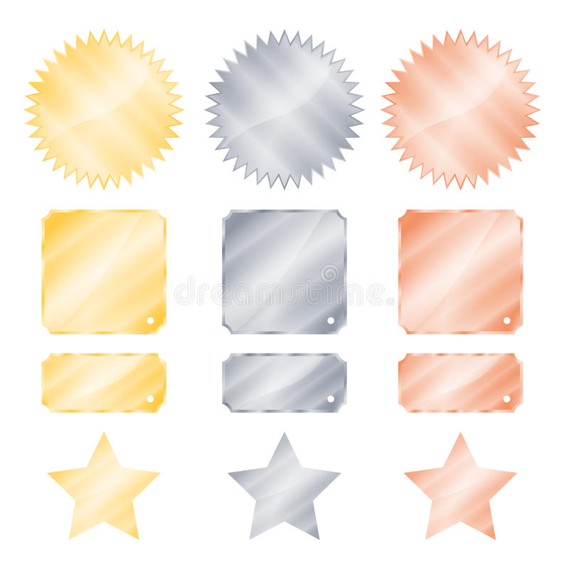 Set gold silver and bronze glossy vector stickers in the shape of a circle with a square rectangle teeth and stars royalty free illustration