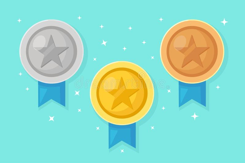 Set of gold, silver, bronze medal with star for first place. Trophy, award for winner isolated on blue background. Golden badge. With ribbon. Achievement royalty free illustration