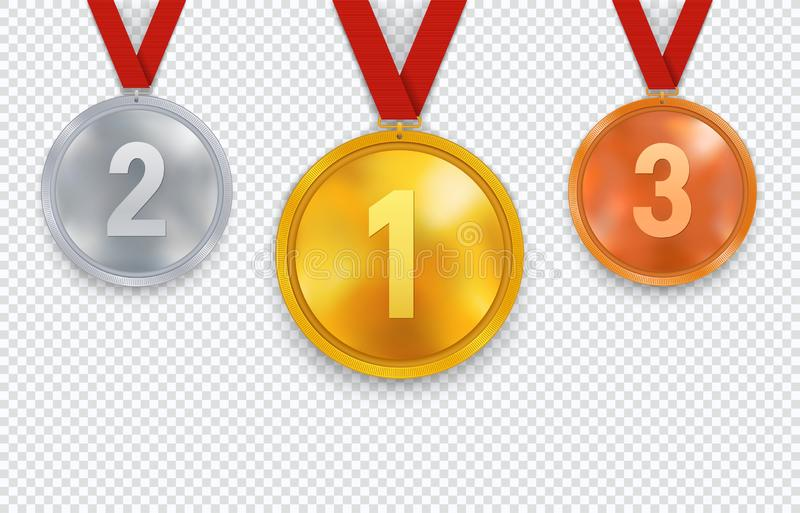 Set of gold silver and bronze medals with red ribbon. Sports awards  with the first second and third place. stock illustration