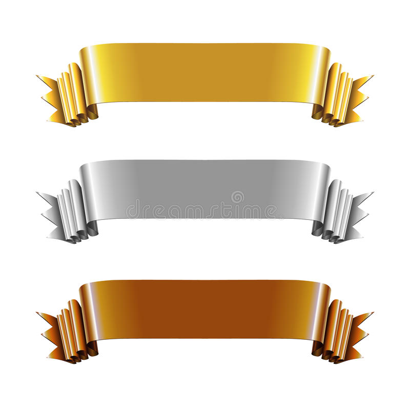 Set of Gold, Silver and Bronze Ribbons. Vector Illustration royalty free illustration