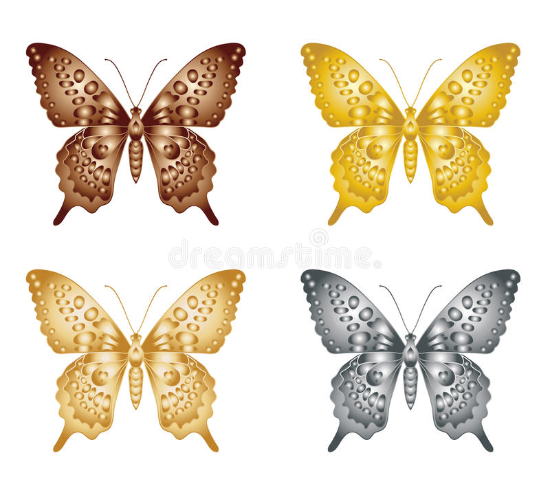 Set of gold silver butterfly on a white background, a collection of butterflies. Vector illustration. royalty free illustration