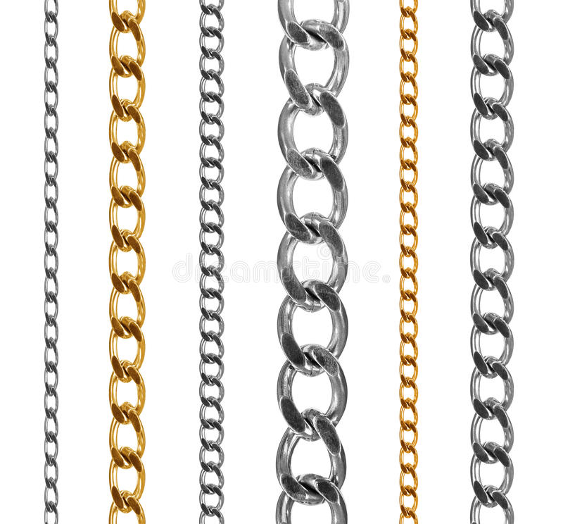 Set of gold and silver chains isolated on white stock photos