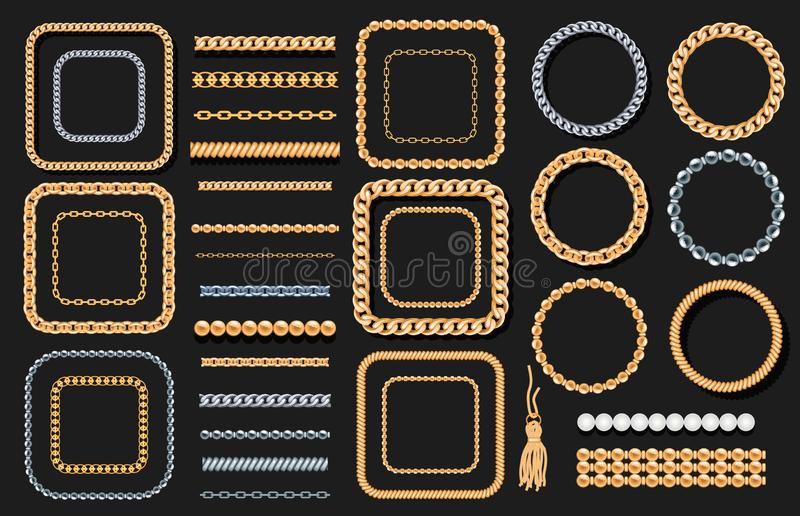 Set of gold and silver chains, ropes, beads on black. Jewelry luxury decorative elements. Seamless brushes for design. royalty free illustration