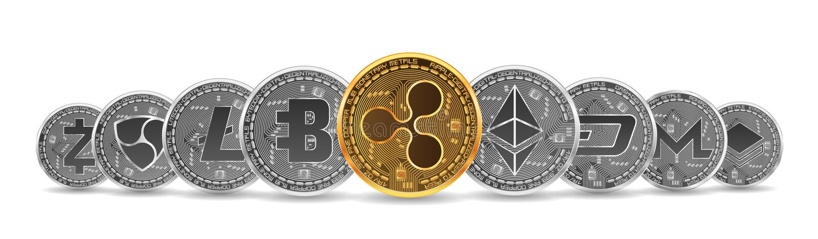 Set of gold and silver crypto currencies royalty free illustration