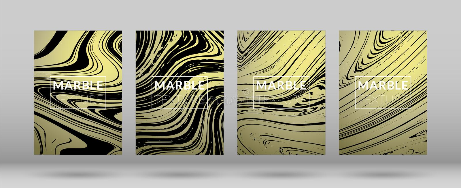 Set of Gold and Silver Marble Covers vector illustration