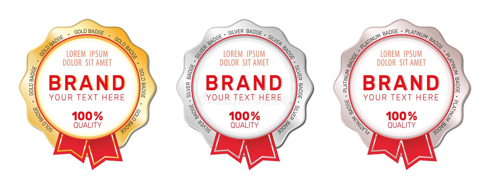 Set of gold, silver and platinum badges. Set of gold, silver and platinum badges with red ribbons and place for your text stock illustration