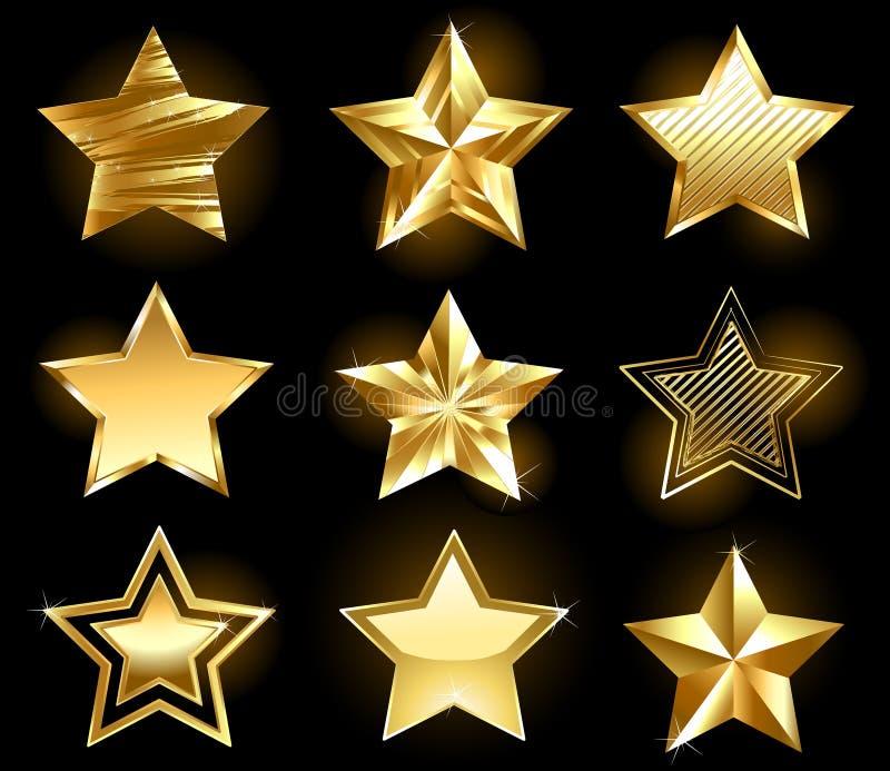 Set of gold stars. Set of gold, fine stars on a black background vector illustration
