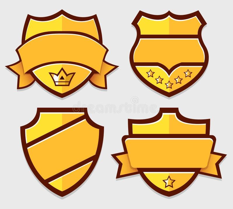 Set of gold vector retro badges royalty free illustration