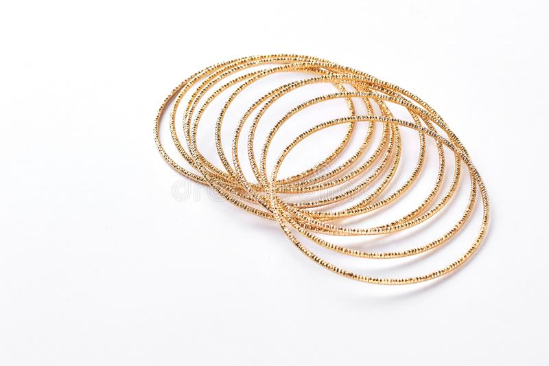Set of golden adornment on white background. royalty free stock images