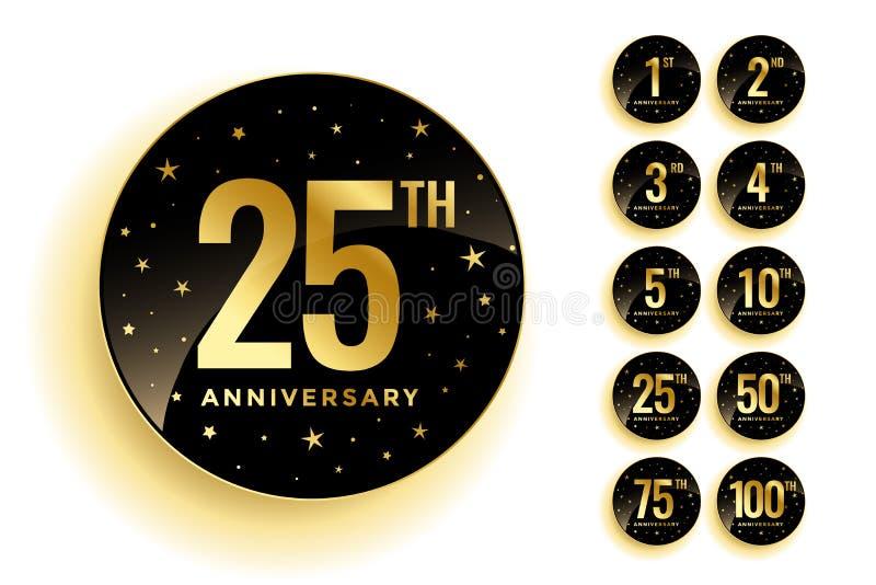 Set of golden anniversary badges stock illustration