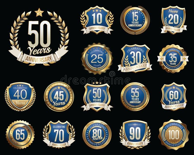 Set of Golden Anniversary Badges. Set of Golden Anniversary Signs. royalty free illustration