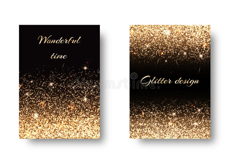 Set golden background. Set of backgrounds with shining golden lights against a black backdrop. Festive decoration of New Years Eve vector illustration