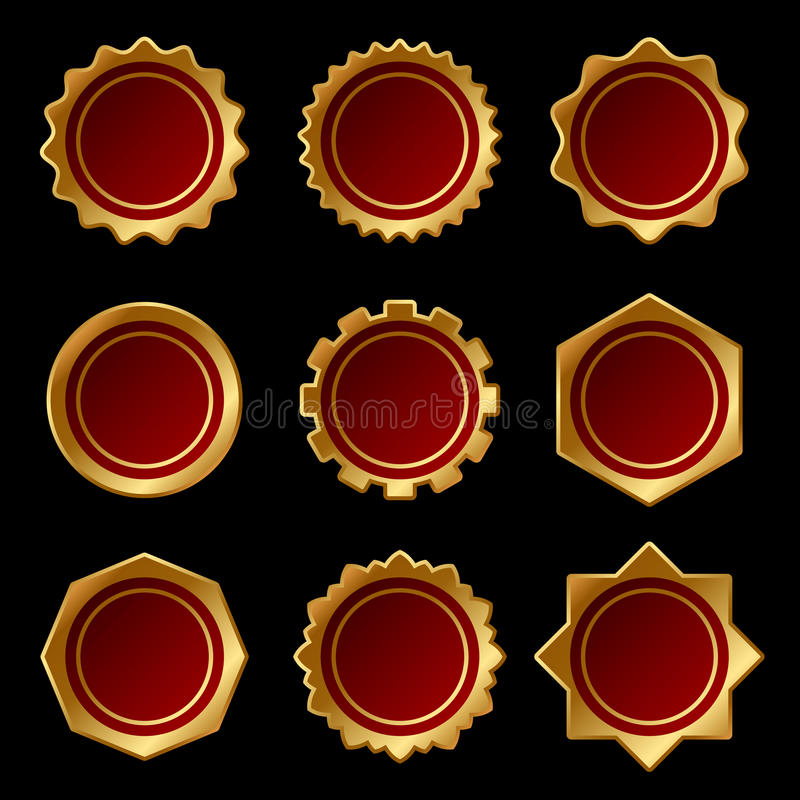 Set of Golden Blank Seal Wax Stamp. Vector stock illustration