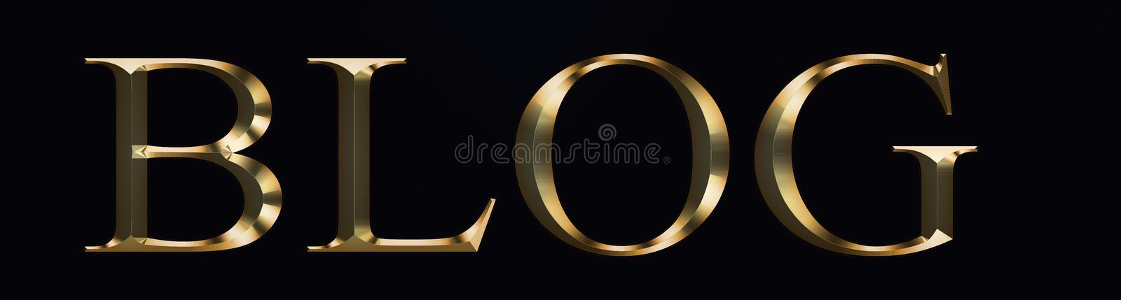 Blog text made from in gold on black background. Shiny festive party Gold font. royalty free stock image