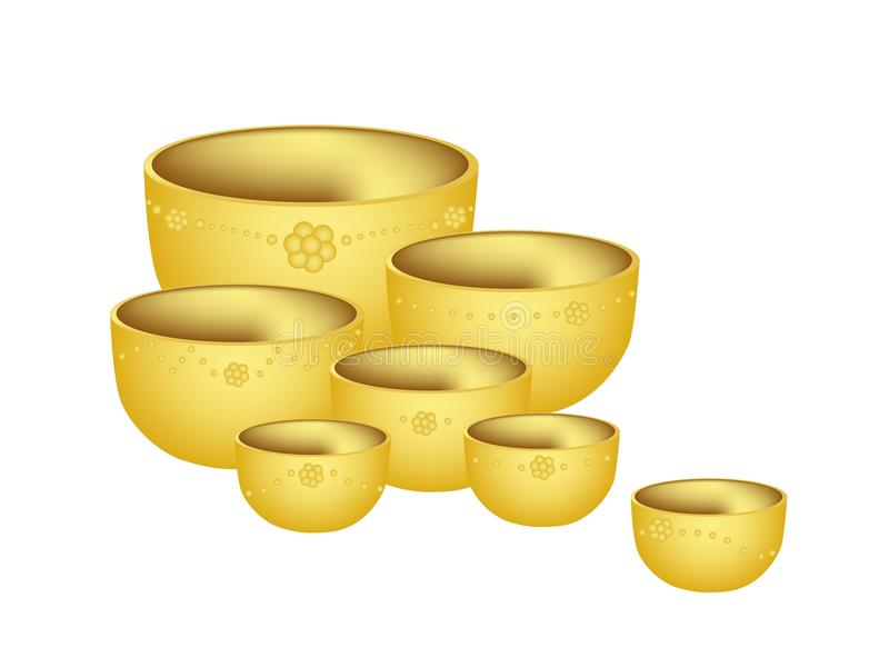 Download A Set Of Golden Bowls On White Background Stock Vector - Illustration of chrome, isolated: 39514265