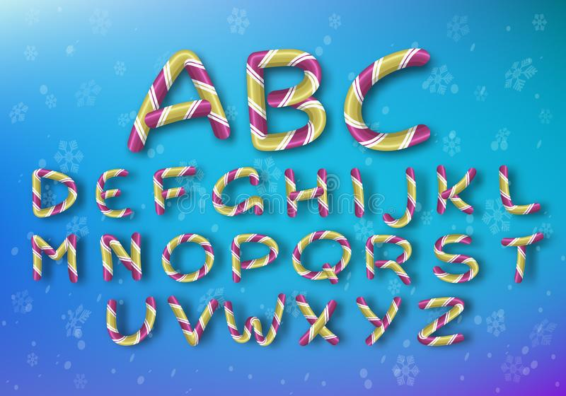 A set of golden caramel letters. Bright vector New Year`s font. Striped cartoon alphabet. stock illustration