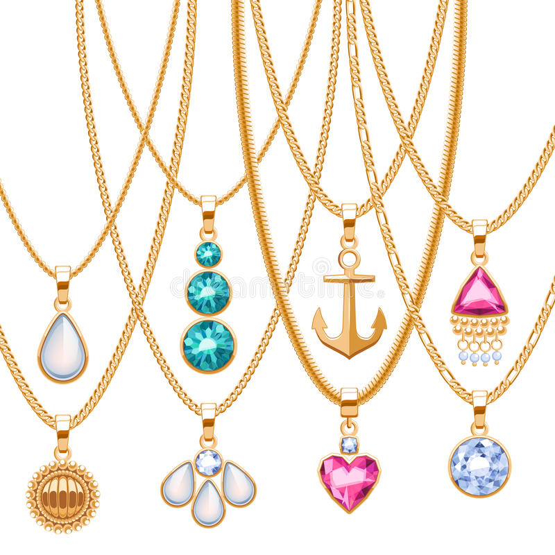 Set of golden chains with different pendants. Precious necklaces. Golden pendants with gemstones pearls. Ruby diamond pendants design vector illustration royalty free illustration
