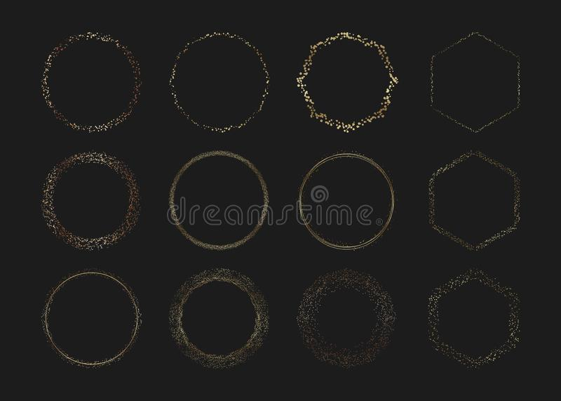 Set Golden circle confetti frames. Festive gold sparkle border, round and hexagons spotted frames. Template for wallpaper, banner, royalty free illustration