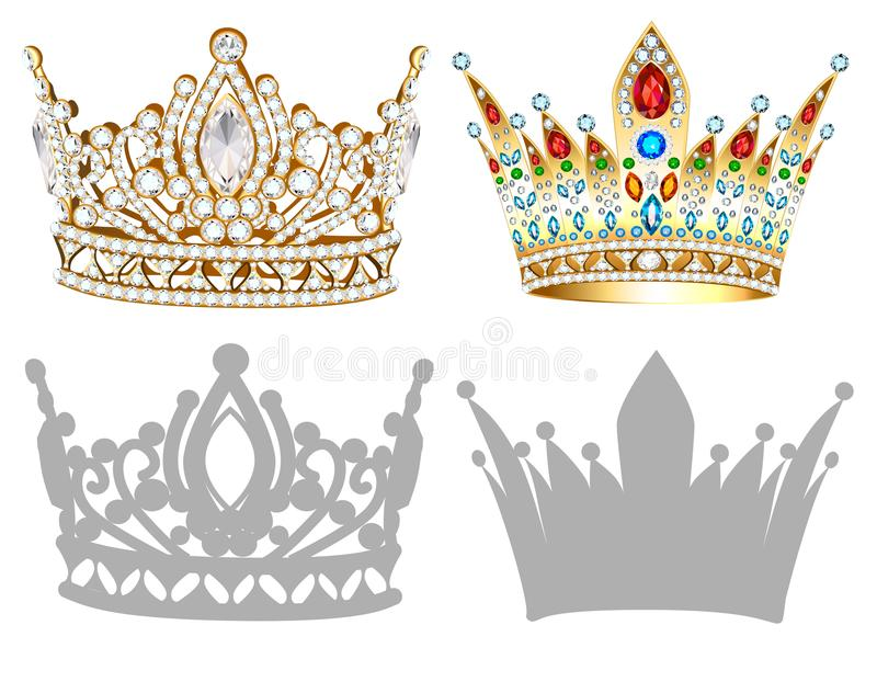 Set of golden crown , tiara, diadem and silhouettes royalty free illustration