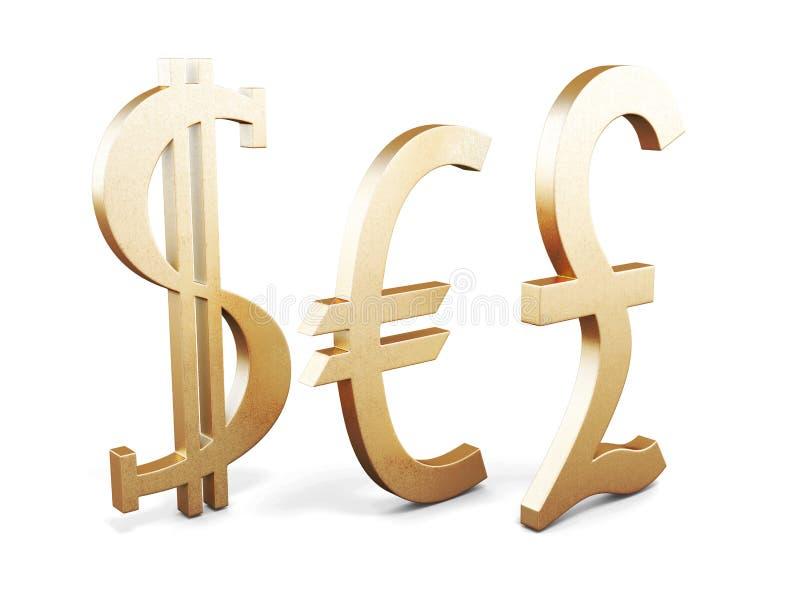 Set of Golden currency symbols on white background royalty free illustration