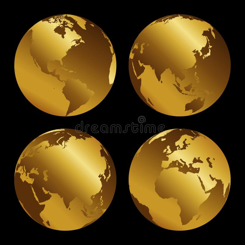 Set of golden 3d metal globes on black background, vecor illustration.  stock illustration