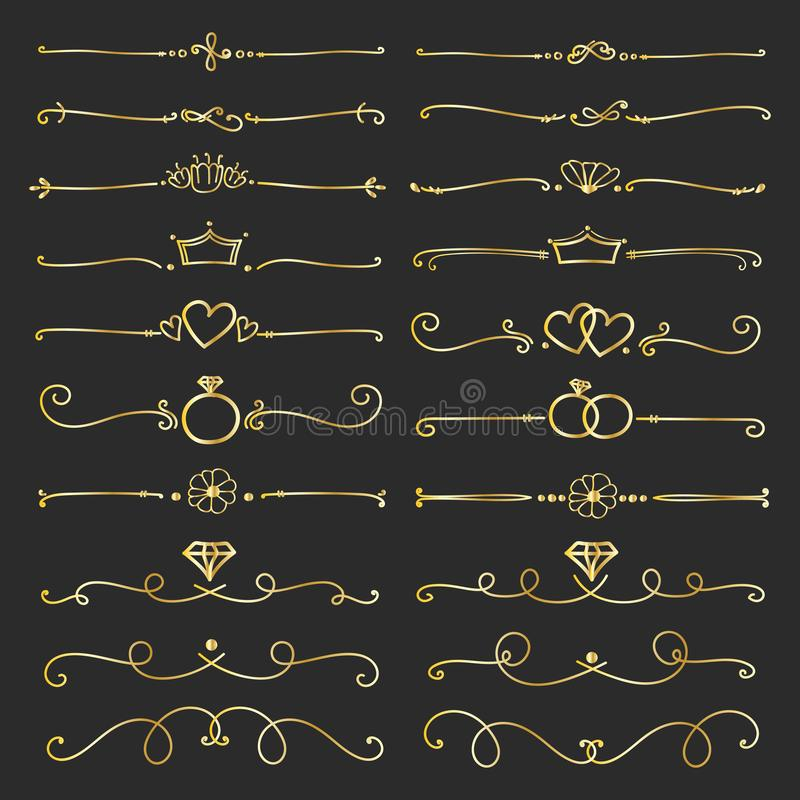 Set Of Golden Decorative Calligraphic Elements For Decoration. stock illustration