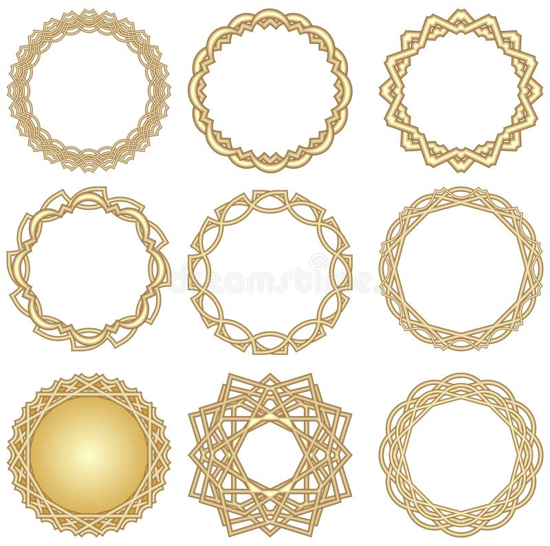A set of golden decorative circle frames in art deco style. May be used for label and ettiket design, for card, invitation vector illustration