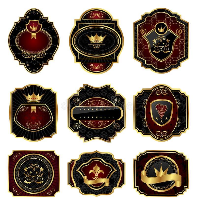 Free Set Golden Decorative Frames Stock Images - 19600394