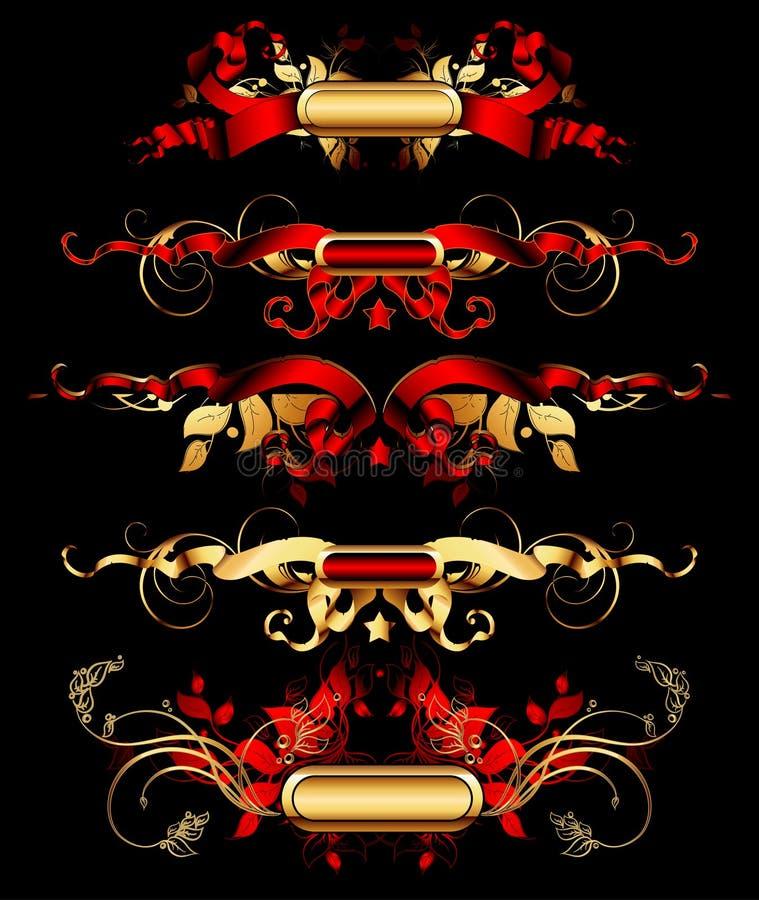Download Set Of Golden Design Elements Stock Vector - Image: 16030024